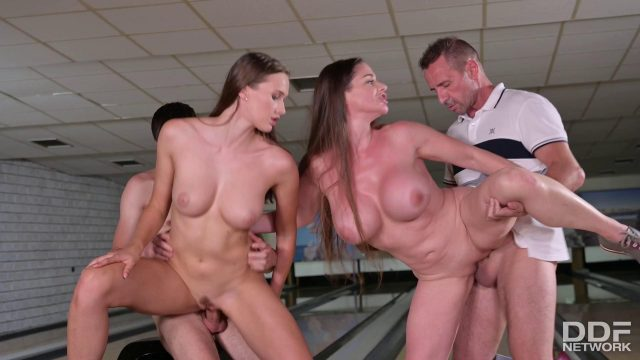 Cathy Heaven and Stacy Cruz have raunchy group sex at the bowling alley (Cathy Heaven, Stacy Cruz) [DDFNetwork]